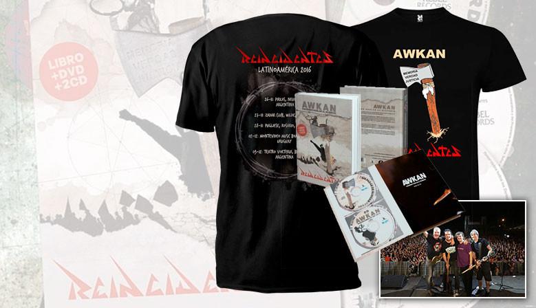 Oferta ultimas unidades Awkan + poster firmado + camiseta hacha o gira Awkan latinoamericana